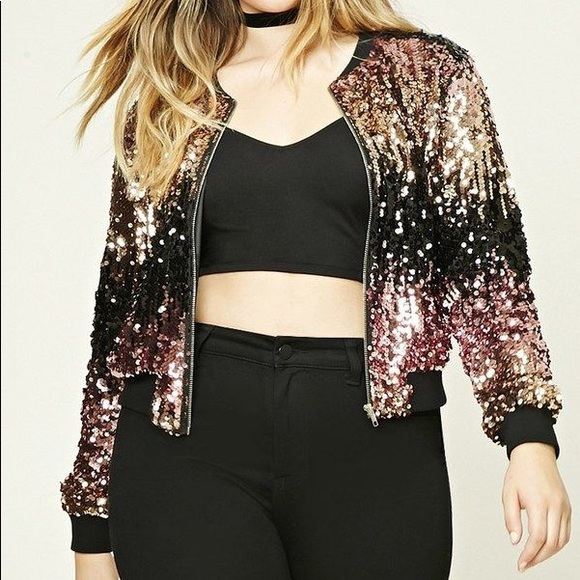 f87bd75a062 Plus Size Hooded Sequin Jacket